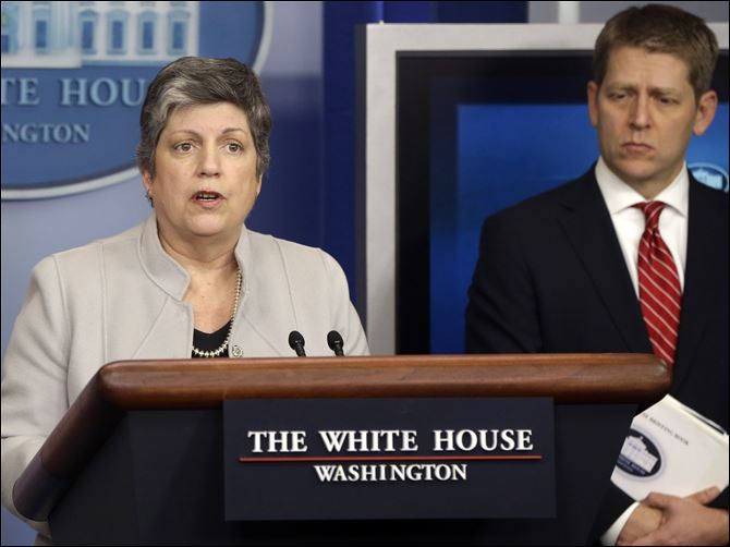 Obama Budget Battle Homeland Security Secretary Janet Napolitano, accompanied by White House press secretary Jay Carney, briefs reporters on the sequester at the White House in Washington.