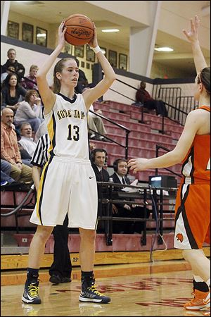 Notre Dame senior Christy Ohlinger scored a season-high 19 points to help the Eagles improve to 22-3 and advance to Saturday's district final against the Northview-Central Catholic winner.