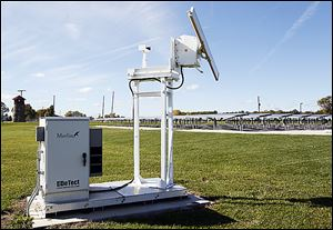 A detection keeps tabs via radar of birds in the area of the proposed site of a wind turbine at Camp Perry, near Oak Harbor.