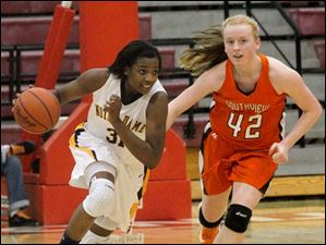 Notre Dame guard Tierra Floyd (31) pushes the ball down the floor during the second half against Southview.