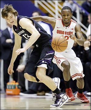 Ohio State's Sam Thompson steals the ball from Northwestern's Kale Abrahamson during the second half on Thursday.