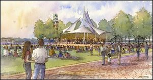 An artist's rendering of Promenade Park in downtown Toledo shows the theme of the next phase of improvements. The emphasis is on green space complemented by walkways and three tiers descending from Summit Street to the Maumee River.