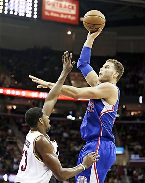 Los Angeles Clippers' Blake Griffin shoots over the Cavaliers' Tristan Thompson. Griffin scored 16 points.