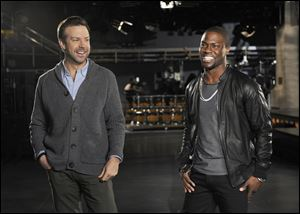 Jason Sudeikis, left, and guest host Kevin Hart during rehearsals for 'Saturday Night Live,' in New York.