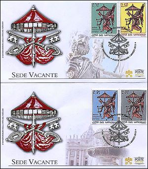 A photo reproduction shows the two envelopes and four stamps Vatican City issued Friday in conjunction with the Sede Vacante, or vacant see, the transition time between papacies when a few Vatican officials run the church.