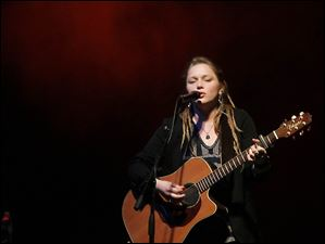 Crystal Bowersox performs at the SeaGate after first singing the national anthem at the Walleye game.