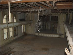 The third floor auditorium as seen from the balcony inside Pythian Castle on the corner of Ontario Street and Jefferson Avenue.