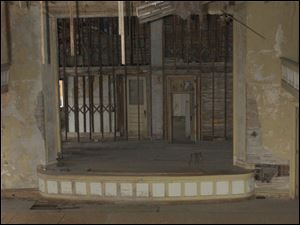 The stage in the third floor auditorium of Pythian Castle on the corner of Ontario Street and Jefferson Avenue.