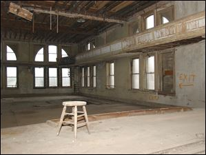 A look at the third floor auditorium from the stage inside Pythian Castle on the corner of Ontario Street and Jefferson Avenue.