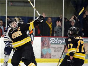 Sylvania Northview's Zander Pryor (19) celebrates scoring the game winning goal against St. John's.