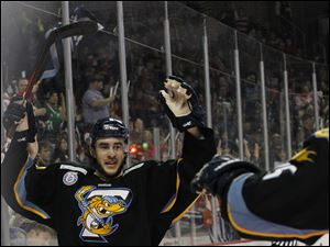 Toledo's Trevor Parkes celebrates a goal during the first period.
