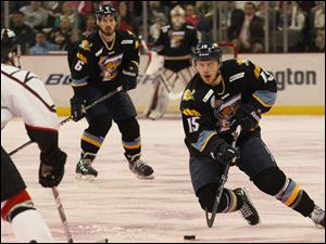 Toledo's Willie Coetzee pushes toward the goal during the first period.