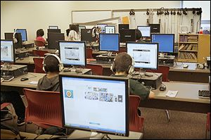 Students work in the computer lab at Pickett Academy. The building project allowed the district to make its schools more technologically up to date.