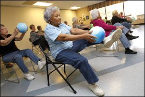 Marianne Payne works out with others recently at the Prime Movers dance exercise program at Pelham Manor.