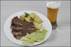 Corned beef, cabbage, potatoes and beer.