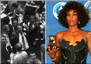 "This combination of Associated Press file photos shows, John P. Duffy, left, specialist at Spear, Leeds & Kellogg, giving a ""V"" for victory sign on the New York Stock Exchange on  Jan. 8, 1987, after the Dow Jones topped 2,000, and Whitney Houston, right, posing with her Grammy at the annual Grammy Awards presentation in New York City, on March 3, 1988."
