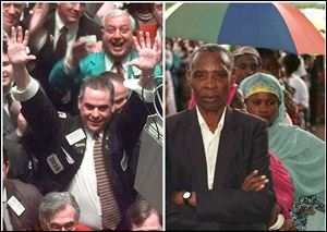 This combination of Associated Press file photos, shows, left, traders celebrating on the floor of the New York Stock Exchange after the Dow closed above 10,000 points for the first time on March 29, 1999, while right, Rwandan voters line-up behind their chosen candidate, Theoneste Ruhama, in Gisenyi, Rwanda.