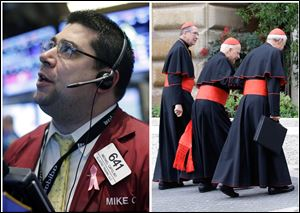 This combination of Associated Press file photos, shows, from left, stock trader Michael Capolino at the New York Stock Exchange today in New York, and cardinals Francis George, Donald Wuerl and Daniel Di Nardo arriving for a meeting today at the Vatican. Helped by stimulus money from the Federal Reserve, hope that the housing market might be turning a corner, and investors' willingness to disregard a potential government shutdown in Washington, the dow hit its highest close ever today.