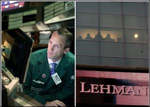 This combination of Associated Press file photos shows, left, Patrick Kenny a Specialist of Lehman Brothers working his post on the trading floor of the New York Stock Exchange and right, the Lehman Brothers headquarters.