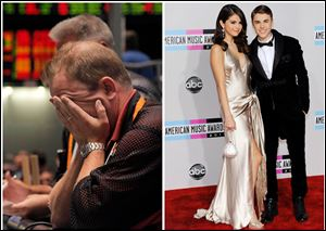 This combination of Associated Press File photos, shows, right, trader Andrew Stavros after the close of trading on Aug. 8, 2011 in Chicago, and left, Selena Gomez and Justin Bieber arriving at the 39th Annual American Music Awards on Sunday, Nov. 20, 2011 in Los Angeles. The evening before the Standard & Poor's ratings agency marked down its grade on U.S. debt causing the Dow to lose more than 5 percent,  Selena Gomez and then-boyfriend Justin Bieber toped the news at the Teen Choice Awards.