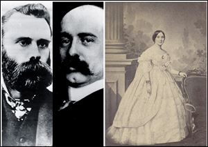 This combination of undated Associated Press file photos, shows from left, Charles Dow, Wall Street Journal editor, and Edward Jones, who co-founded the Dow Jones Company, and right, Mrs. Jefferson Davis. The Dow Jones industrial average debuted on May 26, 1896, with 12 companies, including American Tobacco, Distilling & Cattle Feeding and General Electric. On the same day, the Confederate Literary Association in Richmond, Va., had a reception with Mrs. Jefferson Davis.