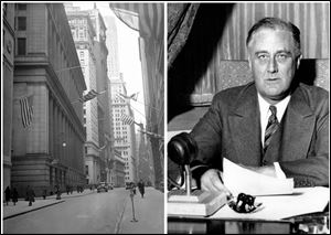 This combination of Associated Press file photos shows, left, the financial district during a two-day bank holiday on March 4, 1933, and President Franklin D. Roosevelt about to deliver a fireside chat to the American people on March 12, 1933.