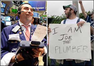 This combination of Associated Press file photos shows, Trader Joe Acquafredda working on the floor of the New York Stock Exchange, on Monday Oct. 13, 2008, and right, supporters of Republican presidential candidate Sen. John McCain, R-Ariz., dressed as Joe the Plumber, in Roanoke, Va.