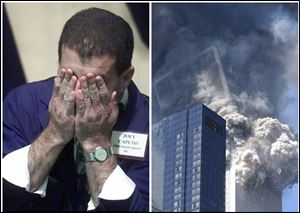 This combination of Associated Press file photos shows Trader Joey Caputo, left, wiping his face near the closing bell, Monday, Sept. 17, 2001, on the floor of the New York Stock Exchange, and right, six days earlier, the south tower of the World Trade Center collapsing after a terrorist attack in New York. The Dow fell more than 7 percent on Sept. 17, 2001, the first day of trading after the attacks.