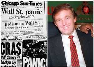 This combination of Associated Press file photos shows left, headlines from around the country on Oct. 20, 1987, and right Donald Trump in Atlantic City in December 1987.