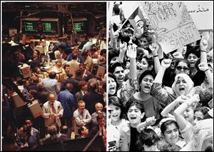 This combination of Associated Press file photos shows left, traders working on the floor of the New York Stock Exchange, on April 17, 1991 and right, Kurdish women demonstrating outside the U.S. Embassy in Kuwait City, on Wednesday, April 10, 1991. The Dow first closed above 3,000 on April 17, 1991.