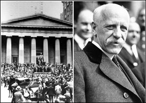 This combination of Associated Press file photos shows from left, crowds panicking in Manhattan's financial district on Oct. 24, 1929,  in New York, and right, Dr. Fridtjof Nansen on Oct. 28, 1929. On Monday, Oct. 28, 1929, the Dow lost nearly 13 percent, starting the Great Depression. On the same day, the International Society for the Exploration of the Arctic Regions by Means of Aircraft announced plans for a spring exploration to be led by Norwegian explorer Fridtjof Nansen.