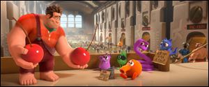 A scene from the animated film 'Wreck-it Ralph' featuring the voice of John C. Reilly as Ralph, left.