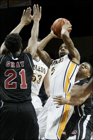 Toledo guard Rian Pearson shoots inside the paint during the first half Tuesday.