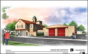 A drawing illustrates the proposal for Toledo's oldest firehouse.