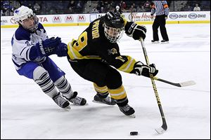 Northview senior Zander Pryor, who had two goals, controls the puck against Olentangy Liberty in Friday's state semifinal. The Wildcats will take on Shaker Heights in today's title game.