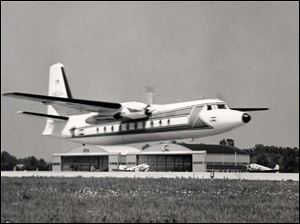 Champion's F-27A Prop-jet Corporate Airplane. Toledo Blade file photo dated August 4, 1963
