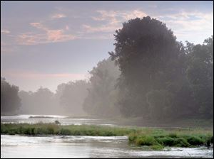Morning mist on Maumee River at Bluegrass Island.