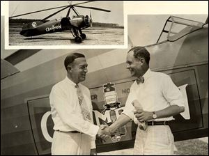 R.A. Stranahan, president of the Champion Spark Plug Co. and Captain Lewis A. Yancey are shown at the start of th 1931 National Air Tour. The new Champion autogiro (inset) is the official ship of the tour, and will later beome a vital factor in marhandizing and sales program for Champion Spark Plug.