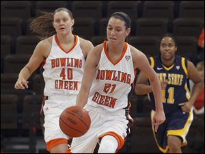 BGSU's Chrissy Steffen steals the ball and rushes down court.