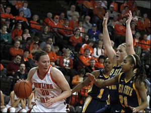 BGSU's Allison Papenfuss dribbles around a trio of Kent defenders.