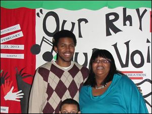 Jeremy Green, left, Andre Rivers, center, and Lisa Robinson performed spoken word at the event.