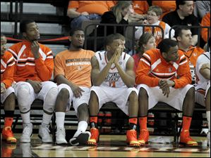 The BGSU bench is quite near the end of game against Miami.