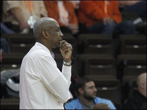BGSU head coach Louis Orr watches Miami pull ahead.