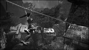 A scene from the video game Tomb Raider.