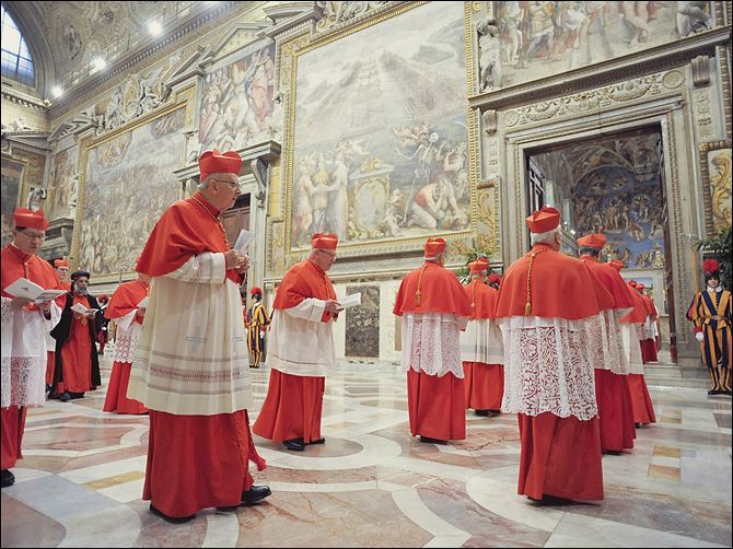 Vatican Pope cardinals Cardinals enter the Sistine Chapel to begin the conclave that will choose a successor to Benedict XVI, Pope Emeritus. Cardinals from around the globe locked themselves inside the Sistine Chapel on Tuesday to choose a new leader.