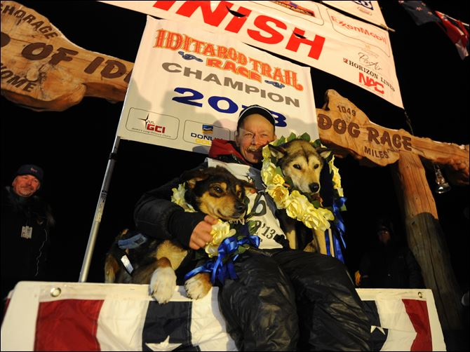 Iditarod Trail Sled Dog Race Mitch Seavey became the oldest winner, a two-time Iditarod champion when he drove his dog team under the burled arch in Nome on Tuesday evening, March 12, 2013. He sits with his two lead dogs, Tanner, left and Taurus, right.