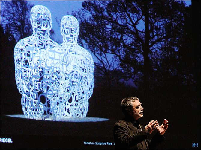 Jaume Plensa, internationally known sculptor, speaks about his piece 'Spiegel' in the Toledo Museum of Art's Peristyle. The museum installed the piece last fall.
