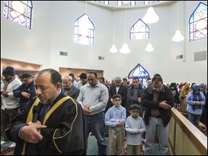 Imam Farooq Abouelzahab leads Friday prayer services.