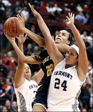 Notre Dame's Jayda Worthy, who had 15 points, goes to the basket against  Kettering Fairmont's Makayla Waterman in a Division I state semifinal at Ohio State's Value City Arena.