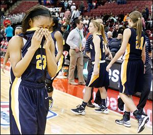 Notre Dame's Christiana Jefferson reacts after losing to Kettering Fairmont in the Division I state semifinal game. The Eagles finish 25-4.
